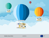 Hot air balloons with 200 Euro Banknotes. Flat style vector illustration. Finance concept.