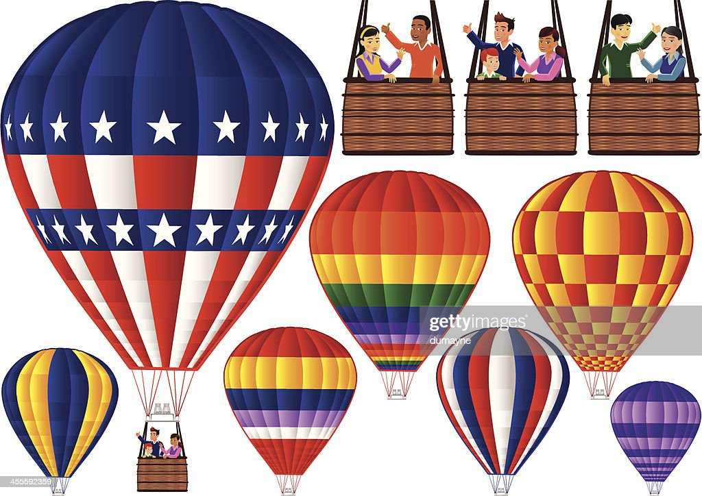 Hot air balloons with gondolas