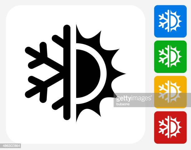 hot and cold icon flat graphic design - temperature stock illustrations