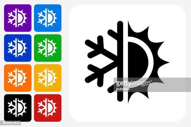 hot and cold icon square button set - humidity stock illustrations, clip art, cartoons, & icons