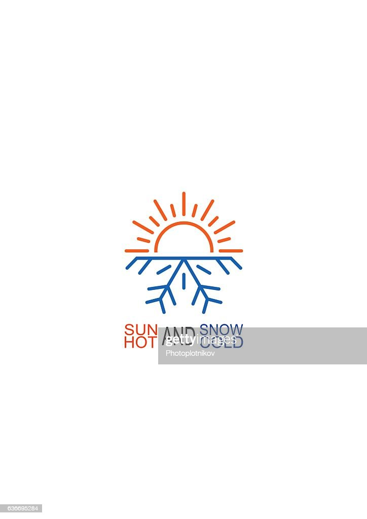 Hot And Cold Icon Sun Snowflake Symbol Vector Art Getty Images