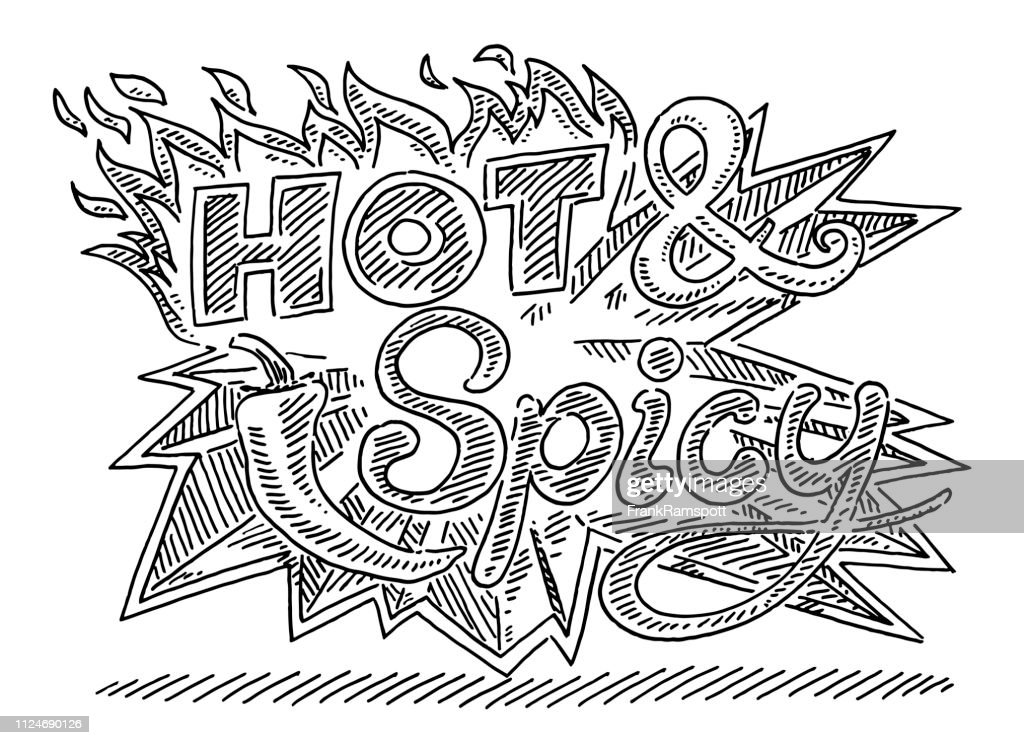 Hot And Spicy Flames Chili Label Drawing
