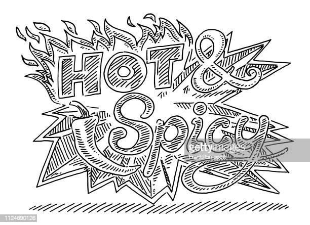 Heiß und würzig Flammen Chili Zeichnung beschriften