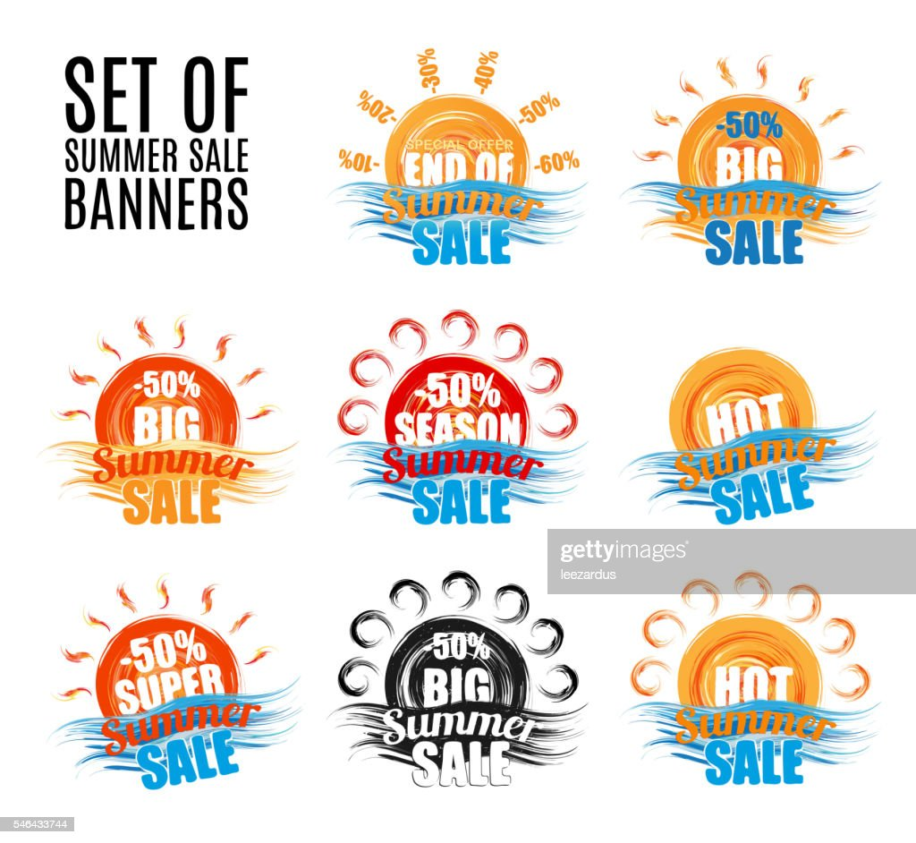 Hot big season summer sale stickers or banners set