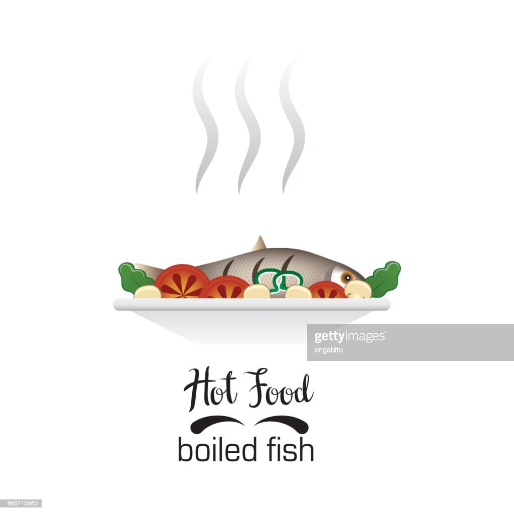 hot boiled fish / hot food icon on white background, vector illustration