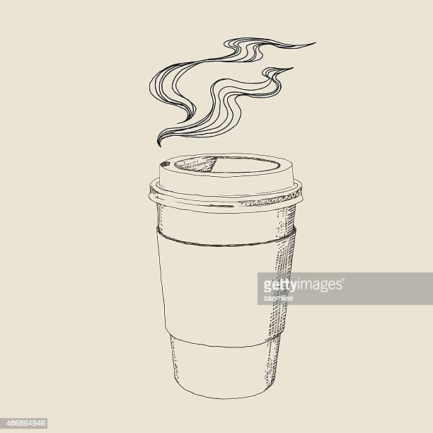 hot caffee drawing - steam stock illustrations