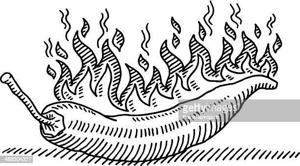 hot chili burning fire drawing - chilli pepper stock illustrations
