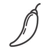 Hot chili pepper line icon, vegetable and mexican, vector graphics, a linear pattern on a white background, eps 10.