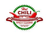 Hot chili spicy cuisine emblem
