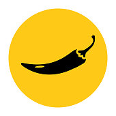 Hot chilli pepper icon. Icon from the set. Black silhouette on bright yellow background. Vector illustration