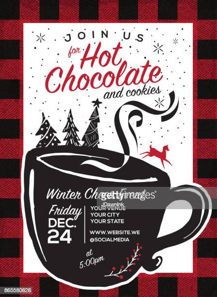 Hot Chocolate and cookies invitation party greeting design template