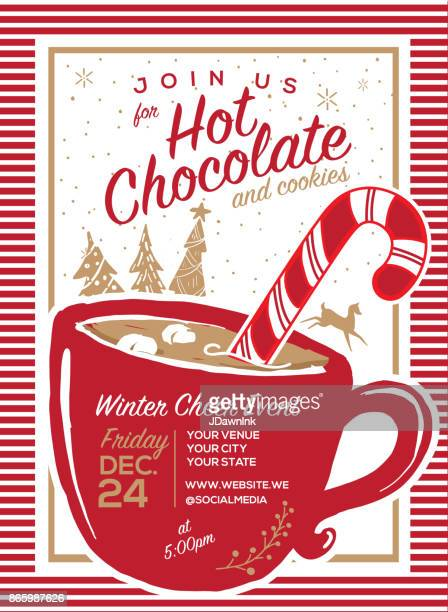 hot chocolate and cookies invitation party greeting design template - candy cane stock illustrations