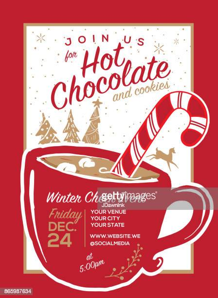 hot chocolate and cookies invitation party greeting design template - hot drink stock illustrations, clip art, cartoons, & icons