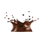 Hot chocolate splash with drops, vector illustration: gradient mesh. eps10