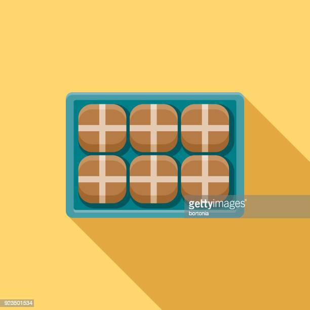 Hot Cross Buns Flat Design Easter Icon with Side Shadow