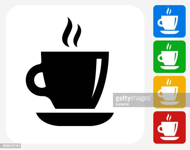 hot cup of coffee icon - afternoon tea stock illustrations, clip art, cartoons, & icons