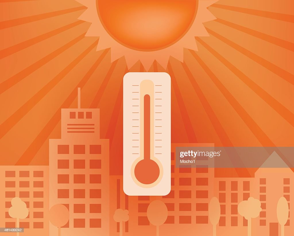 Hot day in the city with thermometer. Vector summer concept.