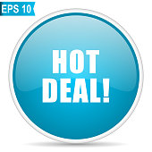 Hot deal blue glossy round vector icon in eps 10. Editable modern design internet button on white background.