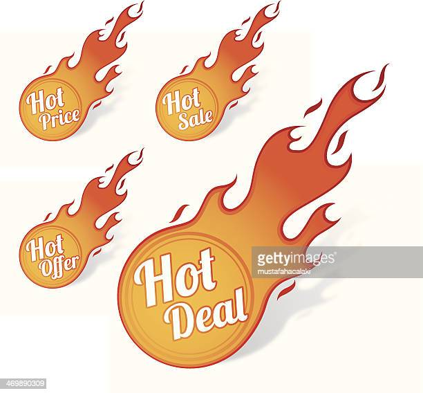 ilustraciones, imágenes clip art, dibujos animados e iconos de stock de oferta caliente con llama botones - llamas de fuego