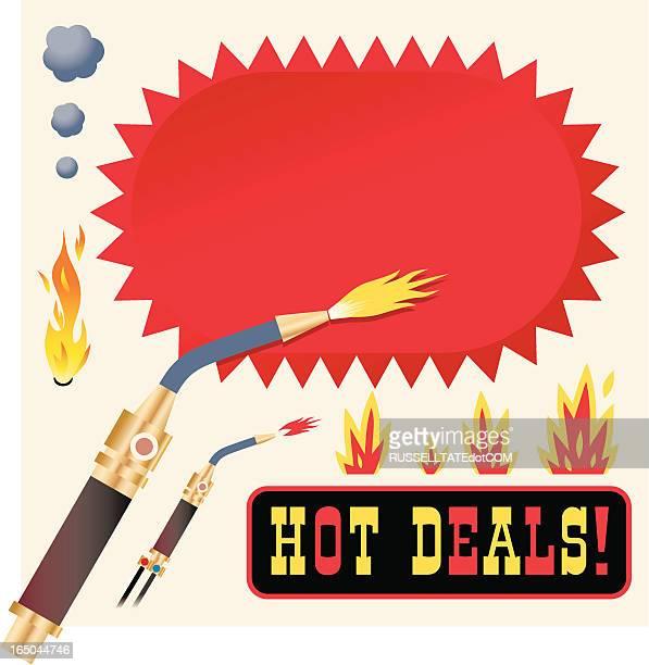 ilustraciones, imágenes clip art, dibujos animados e iconos de stock de oferta con opciones frías y calientes - soldador