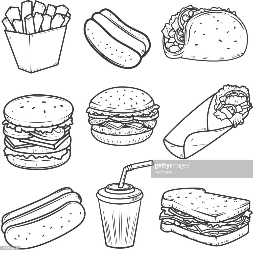 Hot dog, burger, taco, sandwich, burrito .Set of fast food icons isolated on white background. Design elements for icon , label, emblem, sign, brand mark.