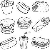 Hot dog, burger, taco, sandwich, burrito .Set of fast food icons isolated on white background. Design elements for icon , label, emblem, sign, brand mark.