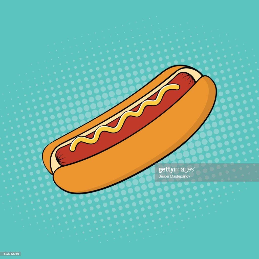 Hotdog Fastfoodpop Artstil Comicstil Vektorillustration Vektorgrafik ...