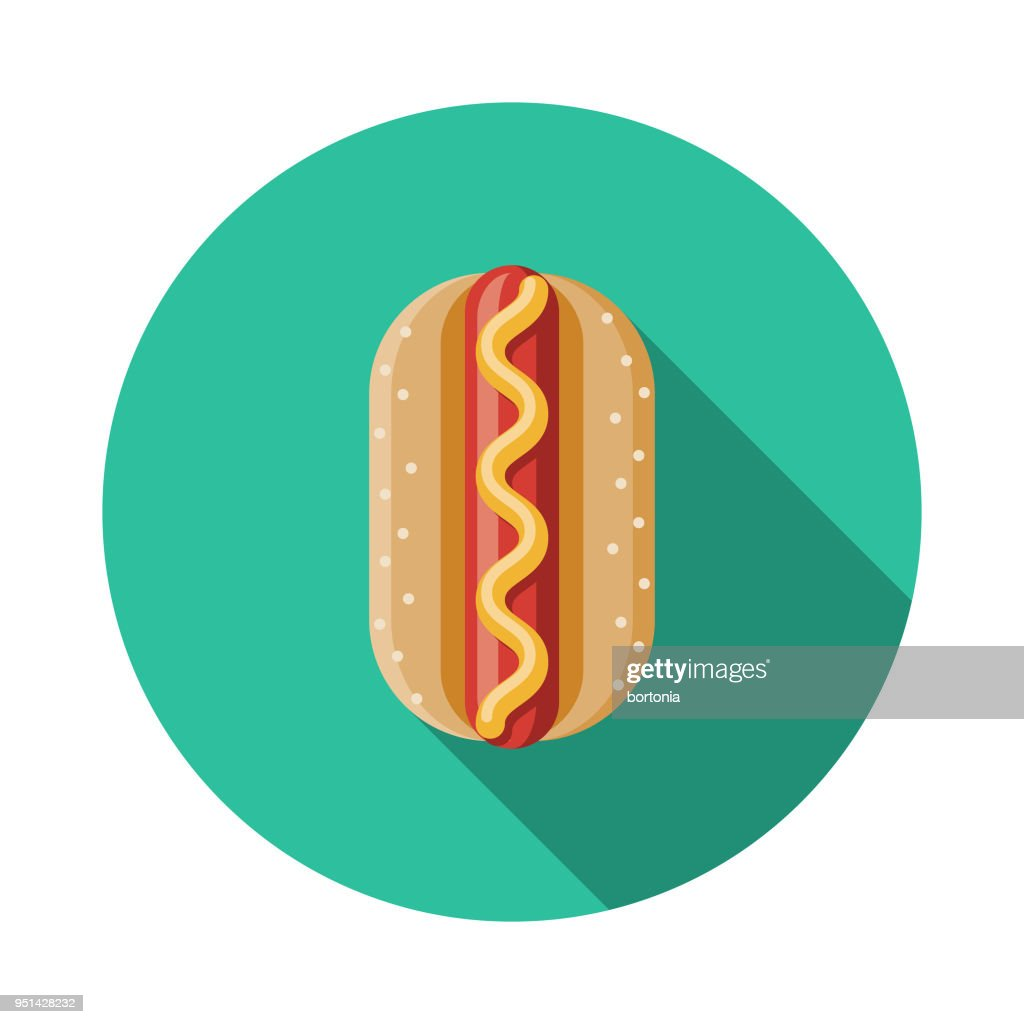 Hot Dog Flat Design Carnival Icon with Side Shadow : stock illustration
