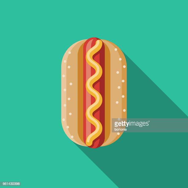 hot dog flat design carnival icon with side shadow - hot dog stock illustrations, clip art, cartoons, & icons