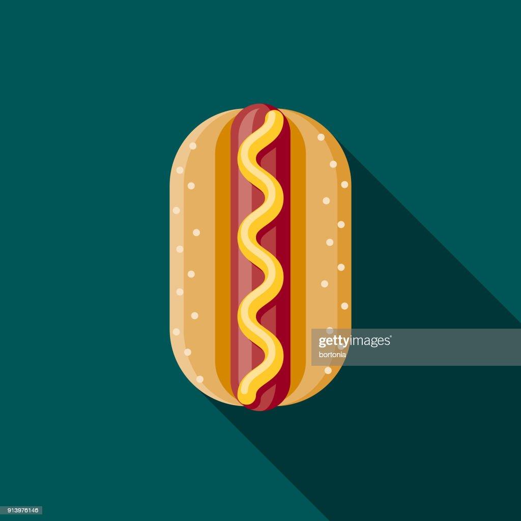Hot Dog Flat Design Fast Food Icon