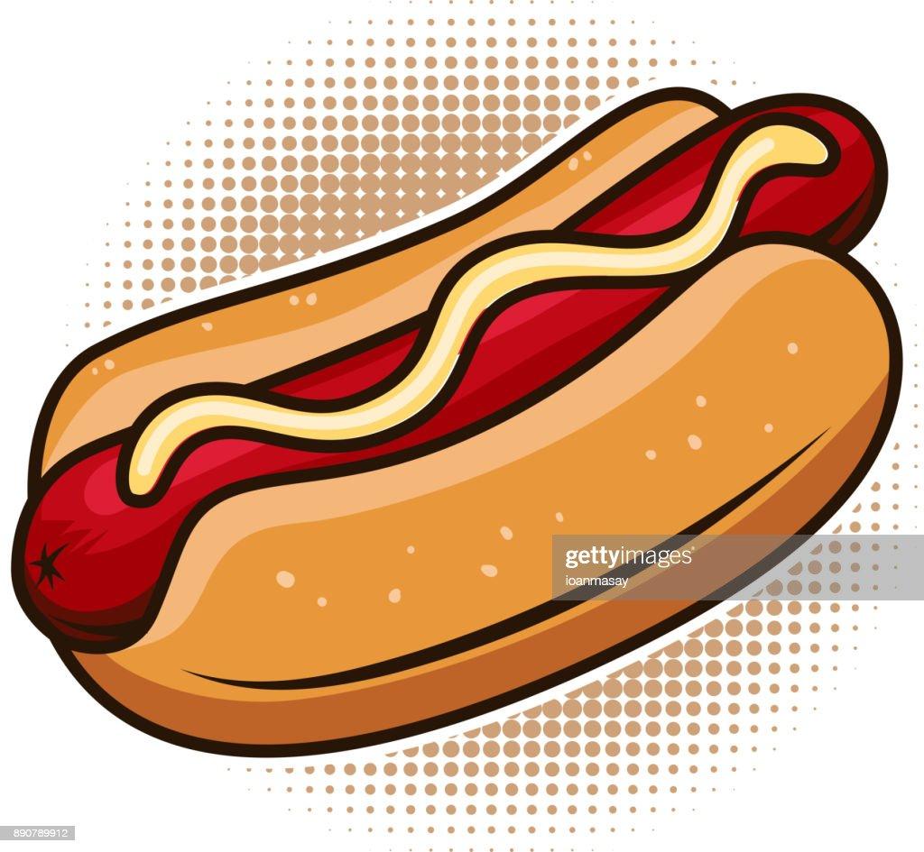 Hot dog illustration isolated on white background. Design element for poster, emblem, sign, menu. Vector illustration