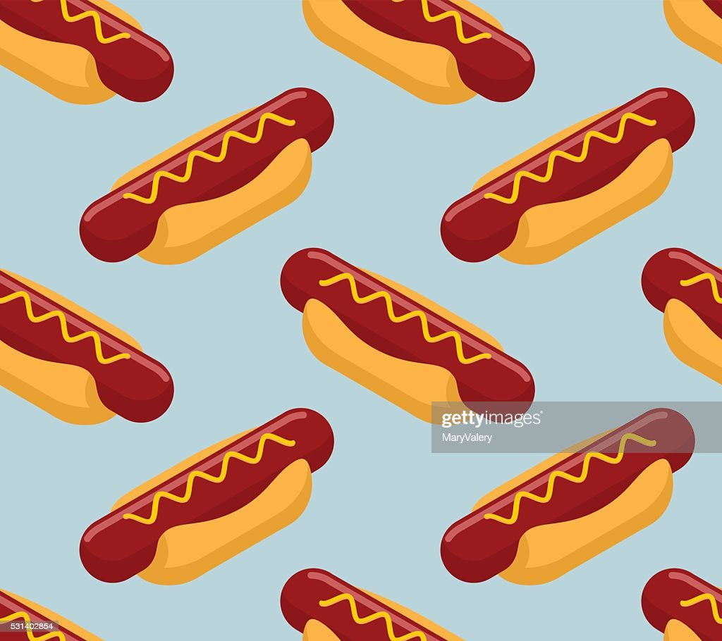 Hot dog isometrics background. Fast food seamless pattern. Sausa