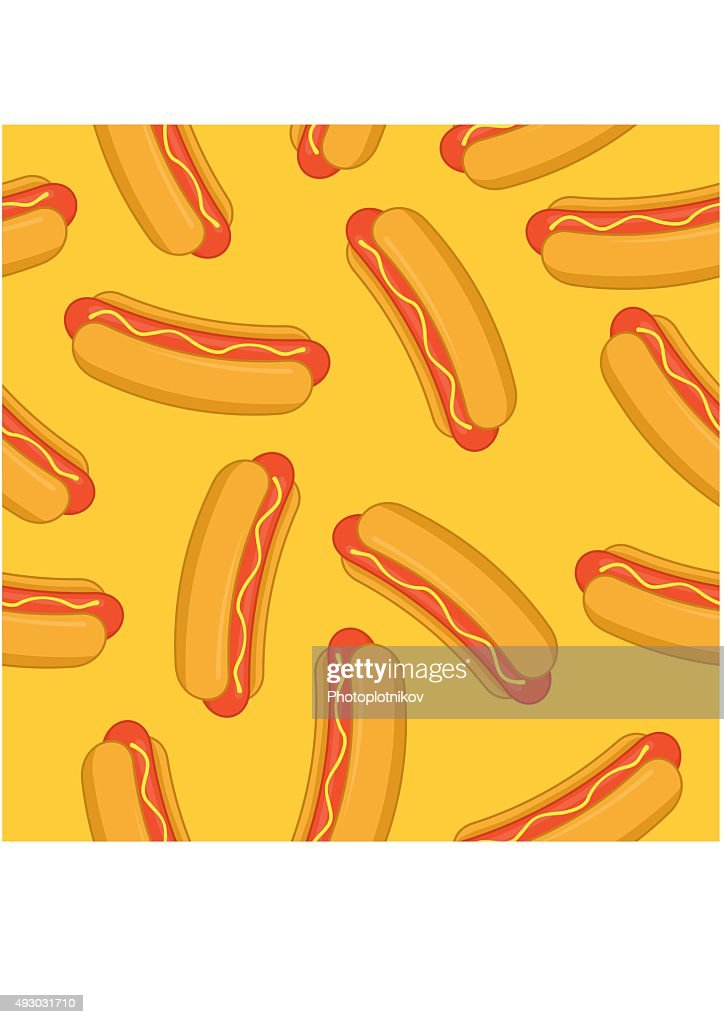Hot Dog seamless pattern yellow. Vector