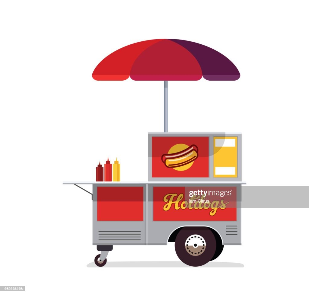 Hot dog street cart. Fast food stand vendor service.