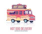 Hot dog truck. Vector hot dog wagon. Flat illustration.