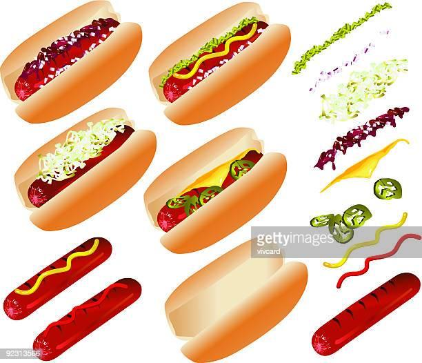 hot dog-schnellimbiss - bratwurst stock-grafiken, -clipart, -cartoons und -symbole