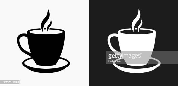 Hot Drink Icon on Black and White Vector Backgrounds