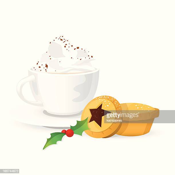 hot drink with cream & christmas mince pies - icing stock illustrations