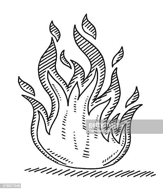 hot fire symbol drawing - fire natural phenomenon stock illustrations, clip art, cartoons, & icons