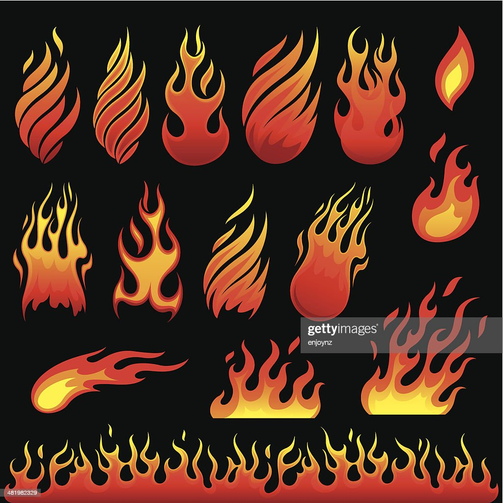 Hot fire symbols : stock illustration