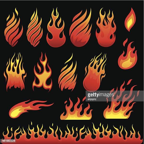 hot fire symbols - flames stock illustrations, clip art, cartoons, & icons