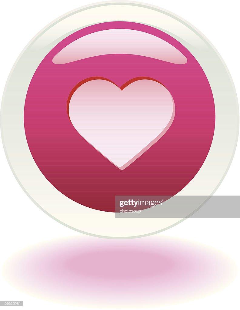 Hot pink heart button