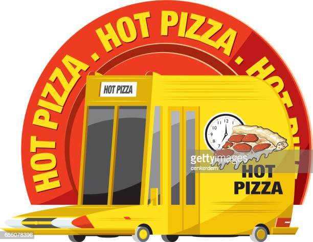 hot pizza on the way - moped stock illustrations, clip art, cartoons, & icons