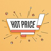 Hot price. Retro design element in pop art style on halftone colorful background.