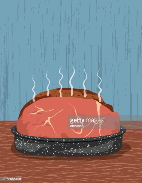 食感のある背景にホットローストビーフ肉 - ローストビーフ点のイラスト素材/クリップアート素材/マンガ素材/アイコン素材