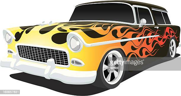 hot rod 1955 chevy - hood ornament stock illustrations