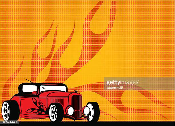 hot rod background with flames - low rider stock illustrations