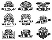 Hot Rod car, HotRod vector emblem, Vector Hot Rod car design, hotrod vector