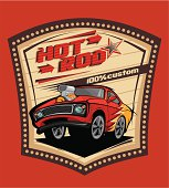 Hot rod car on the road poster