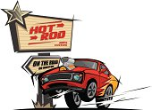 Hot rod car on the road